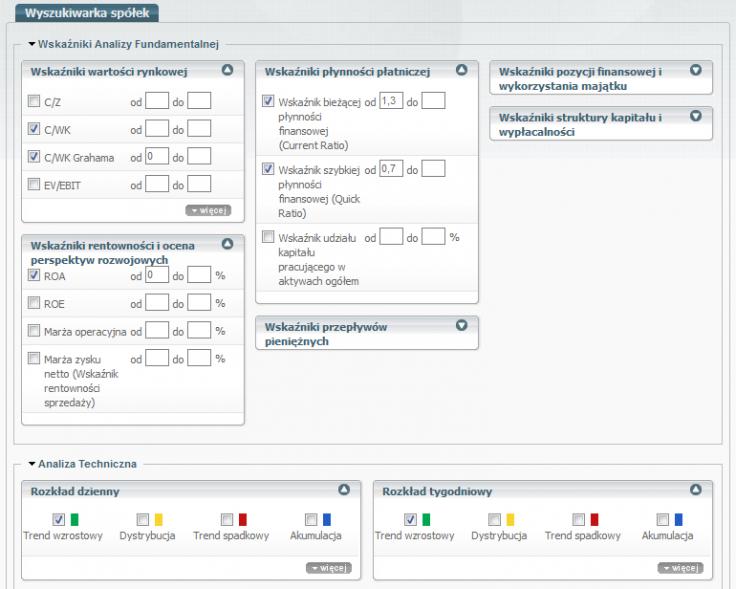 Rysunek 2. Ustawienia skanera Sindicator.net dla wybranych kryteriów płynności, zysków i trendów.