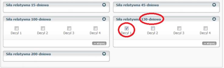 Rysunek 2. Dodatkowy warunek w ustawieniach skanowania pozwalający znaleźć spółki z pierwszego decyla dla średniej 130 dniowej (http://sindicator.net/skaner?save=6069)