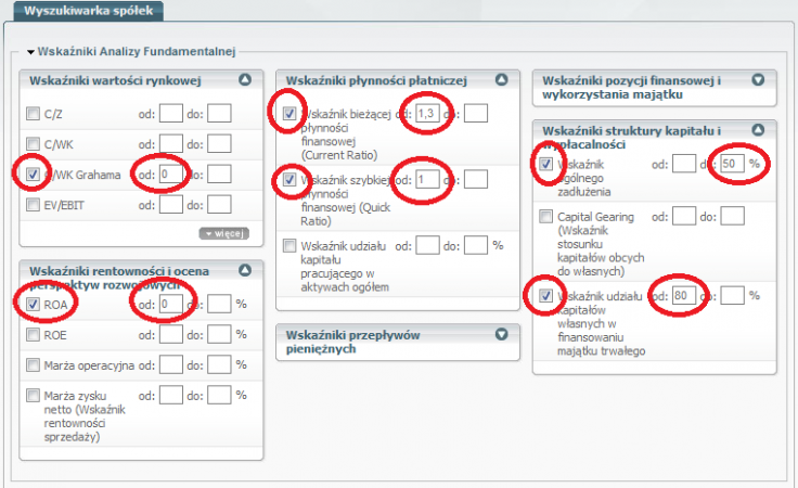 Rysunek 3. Ustawienia wyszukiwania spółek stabilnych finansowo (http://sindicator.net/skaner?save=8)
